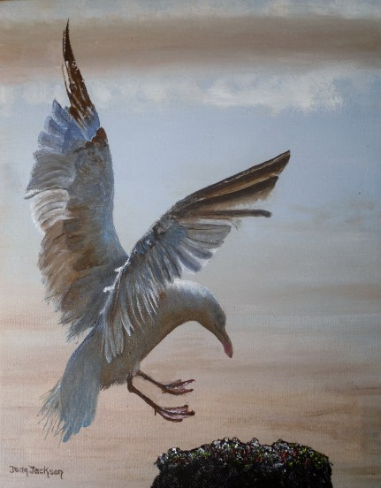 Coming in to Land Oil on canvas 40cmW X 50cmH X 3.5cmD $490