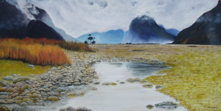 Milford Sounds 760mmWX380mmDX32 Oil on Canvas $550