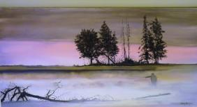 Misty Morning Catch Oil on Canvas 61cmW X 30cmH $390