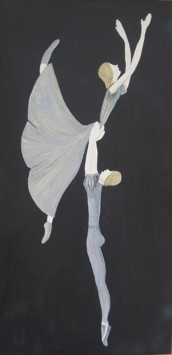 Modern Ballet 92cm36c Oil on Canvas $390