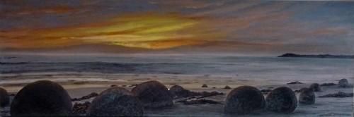 Moeraki Boulders-Otago Oil on Canvas 92cmX30cm $650