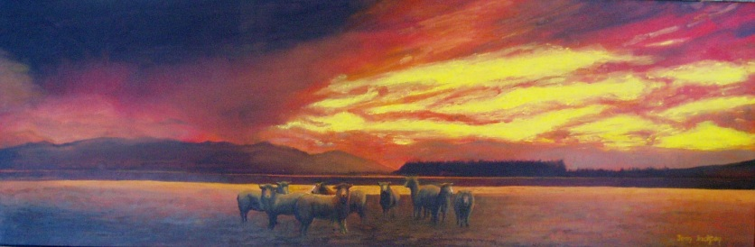 Shepherds Delight 760mmHX260mmWX34D Oil on Canvas $450