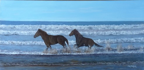 Splish Splash Oil on Canvas 60cmWX30cmD $290