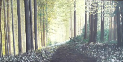 The Bluebell Glen Oil on canvas, 61x31x3.5cm. $450.00