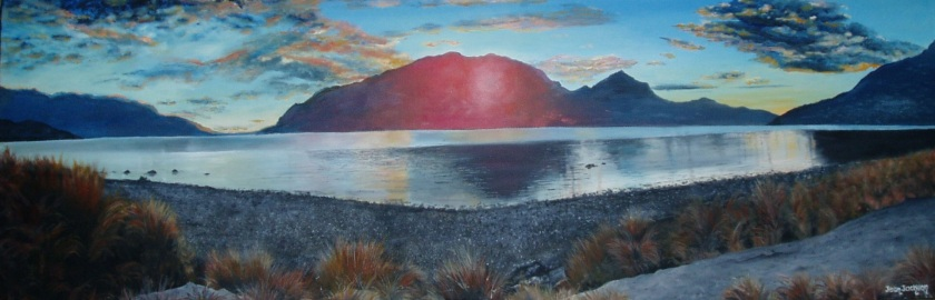 Tussocks and Sunsets, Oil on Canvas, 910X300X35, $450