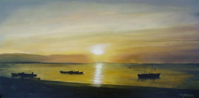 Twilight Fishing 610mmWX260mmHX34D Oil on Canvas $390