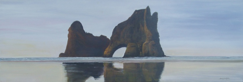 Wharariki Beach 60cmX50cm Oil on Canvas $490