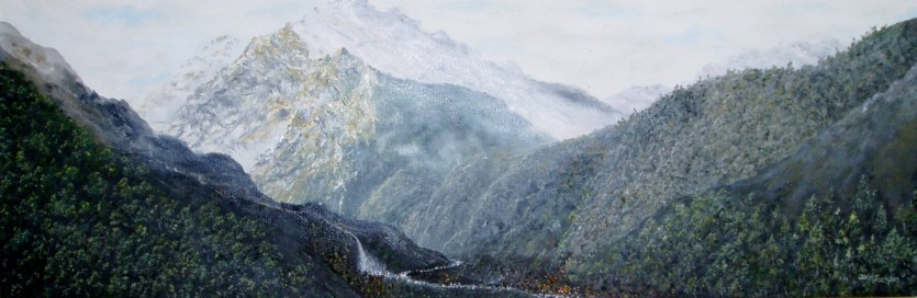Mighty Gorge H 76cm W 25cm D 3.5cm Oil on Canvas $390