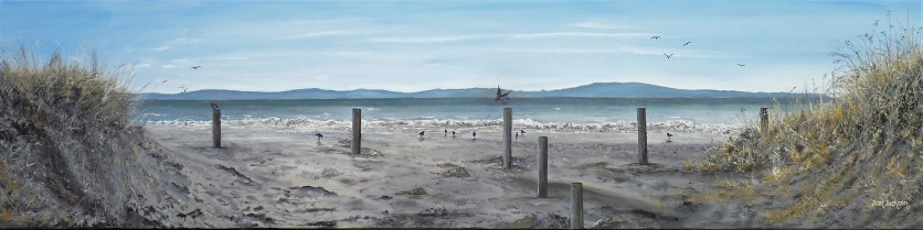 Tahunanui Dunes Oil on Canvas 122 cm W X 30 cm H $690 SOLD