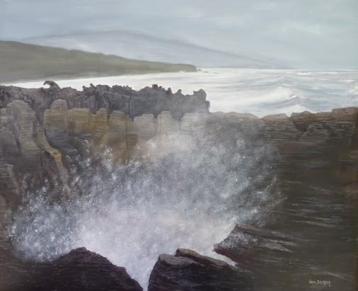 Pancake Rocks,Punakaiki Oil on Canvas 61cm W X 51 cm H $490
