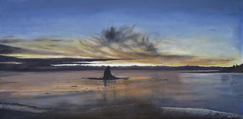 """Dusk, Fifeshire Rock"" Oil on Canvas 38cm X 76cm $490 SOLD"
