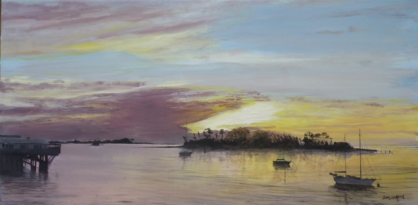 """Sunset over Haulashore Island"" Oil on Canvas 30cm X 60cm $490 SOLD"