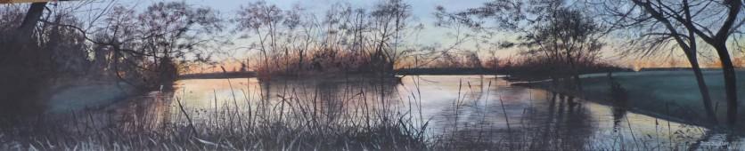 Stubbs Pool Oil on Canvas 122cmW X 25cmH $750