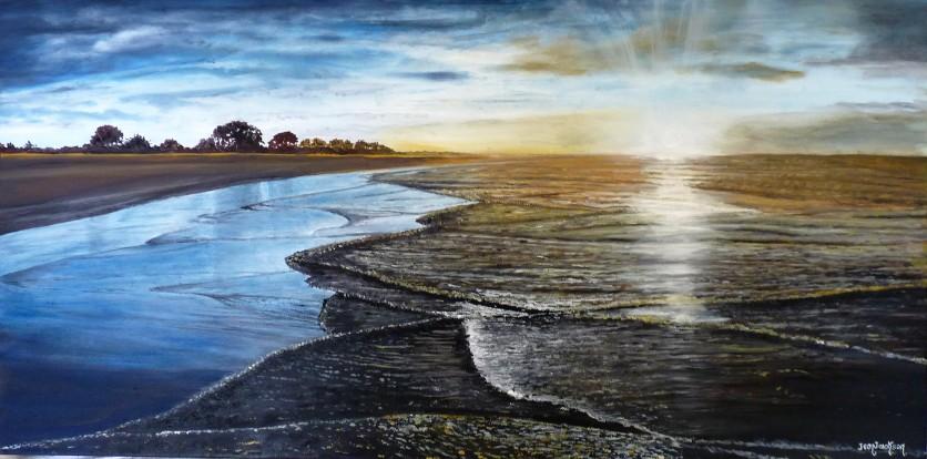 Ebb Tide, Tahunanui Beach Oil on Canvas 76cmW X 39cmH SOLD