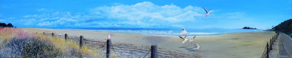 Time to Leave, Tahunanui Oil on Canvas 122cm W X 25cm H SOLD