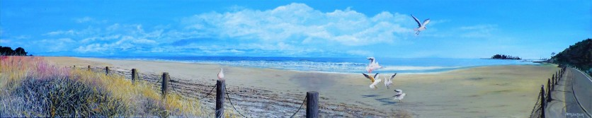 Time to Leave, Tahunanui Oil on Canvas 122cm W X 25cm H $750
