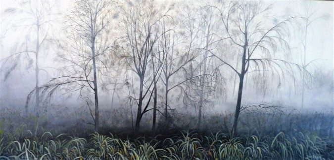 Mist in the Cottonwoods Oil on Canvas 91cnW X 46cmH $850