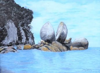 Split Apple Rock, Abel Tasman NP Oil on Canvas 30cmW X 23cm H $390