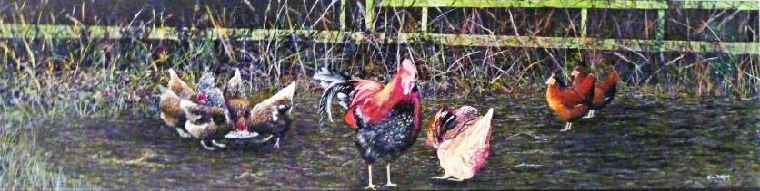The Chicken Run Oil on Canvas 121Cm X 31Cm H $950