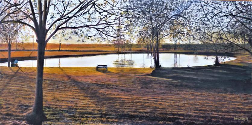 Sundown at the Lake Oil on Canvas 70cm w X 38cm H $590