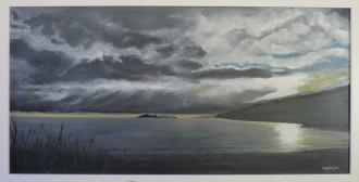 Storm over Haulashore Oil on Canvas 79cm W X 41cm H $790